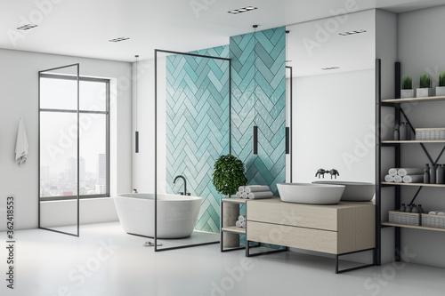 Fototapeta Minimalistic turquoise bathroom interior with bath obraz