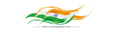 Happy Independence Day India Abstract Flag White Background Banner