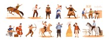 Set Of Wild West Cartoon Chara...
