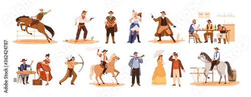 Fototapeta Set of wild west cartoon characters vector flat illustration. Collection of cowboy ride on horse, sheriff with gun, country guys at bar, indian with a bow, couple, woman in cabaret isolated on white obraz