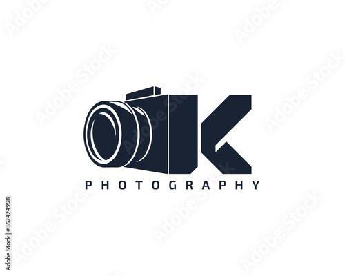 Initial Letter K Camera photography filmmaker logo design Canvas