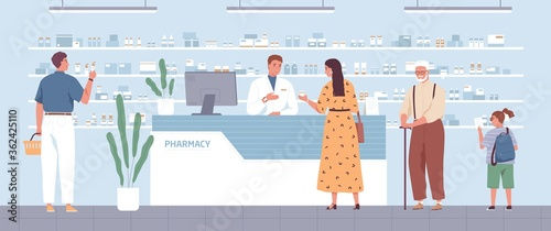 Fototapeta Stylish woman buying remedy consulting with pharmacist at drugstore vector flat illustration. Different people stand in queue at modern pharmacy interior. Male seller and customers at medical store obraz