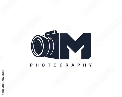 Obraz na plátne Initial Letter M Camera photography filmmaker logo design