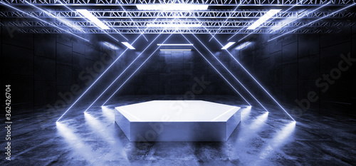 Triangle Stage Podium Catwalk Studio Garage Neon Laser Blue Glowing Club Dance Empty Showcase Garage Night Show Background 3D Rendering