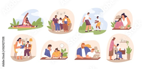 Fototapeta Set of parents helping children do homework. Learning, studying process at home. Family read books, play football, write schoolwork in flat cartoon vector illustration isolated on white obraz