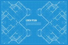 Architectural Background. Blue Print Of Building. Technical Draw. Vector Illustration.
