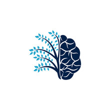 Modern Brain Tree Logo Design. Think Green Label.