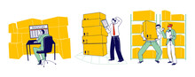 Physical Inventory Count Management. Storekeeper Characters Manage Warehouse Cargo Loading, Unloading And Sorting Stock Storage Of Parcels With Products For Shipment. Linear People Vector Illustration