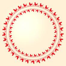 Vector Embroidery Folk Ornament With Birds