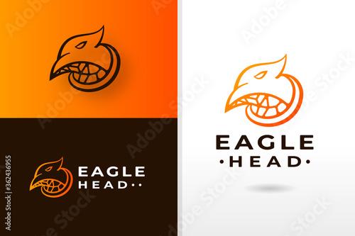 Photo eagle head wildlife animal gradient color logo design premium vector