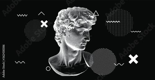 Fotografia 3D rendering of Michelangelo's David head in pixel art 8-bit style