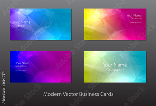 Photo vector cards with colorful polygonal background