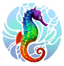 Rainbow Colored Seahorse Fish. Digital Illustration