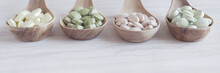 Natural Cruciferous Vegetables And Alternative Herbal Tablet Pills In Wooden Spoons, Keto Diet Dietary Supplements For Healthy Gut