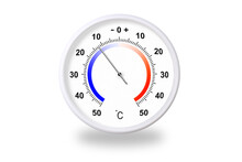 Outdoor Thermometer On White Background. Ambient Temperature Minus 12 Degrees Celsius
