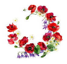 Watercolor Wreath Of Poppies And Wild Flowers.