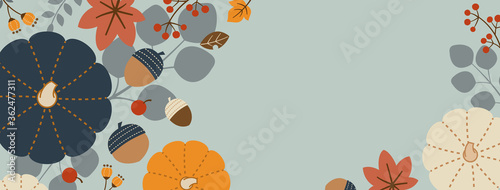 Horizontal Rectangle Banner Design for Autumn/Fall with Pumpkins, Leaves, Nuts, Canvas-taulu