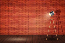 Interior Of Red Brick Wall And Spotlight Tripod Floor Lamp. Background Of Loft And Trendy Showroom Or Cafe. Decorative Floor Lamp Tripod Model. Vector Illustration.