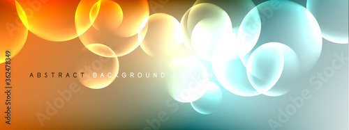 Obraz Vector abstract background liquid bubble circles on fluid gradient with shadows and light effects. Shiny design templates for text - fototapety do salonu