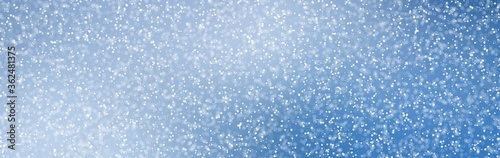 Fototapeta Abstract Blue Christmas Background with Real Snow. Blurred Snowflakes obraz