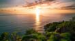 canvas print picture - Beautiful light of nature sunset or sunrise sky over mountain Beautiful tropical sea landscape.