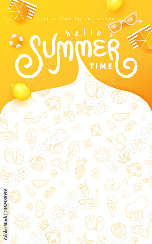 Fototapeta Summer banner design with beach accessories on the yellow background and copy space. obraz