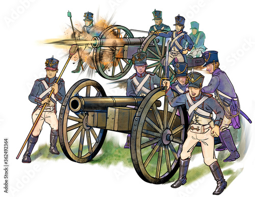 Photo ナポレオン時代の砲兵-砲撃