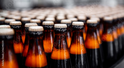 Brown glass beer drink alcohol bottles, brewery conveyor, production line Wallpaper Mural