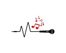 Microphone Pulse And Music Note