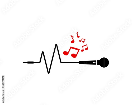 Photo Microphone pulse and music note