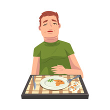 Man With Full Stomach Eating Delicious Meal, Cheerful Guy Sitting At Table With Checkered Tablecloth With Empty Plate Cartoon Vector Illustration