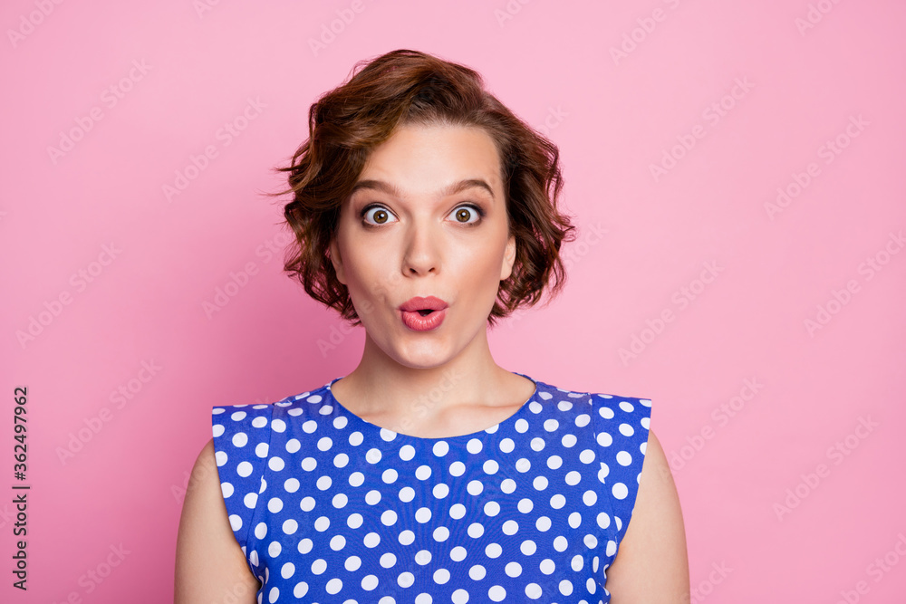 Fototapeta Close-up portrait of her she nice attractive cute charming lovely lovable cheerful cheery amazed brown-haired girl pout lips isolated over pink pastel color background