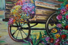 Art Oil Painting Flower , Abstract , Design , Background From Thailand