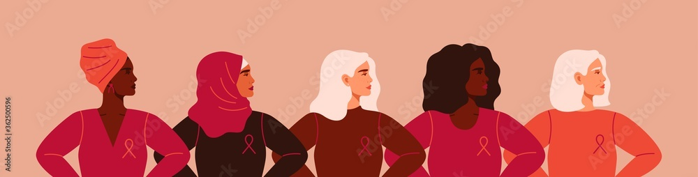 Fototapeta Five women with pink ribbons of different nationalities are standing together. Breast cancer awareness prevention month poster. Concept of support and solidarity with females fighting oncological dise
