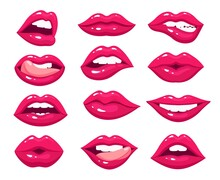Woman Lips. Red Sexy Mouth, Female Pink Kiss With Lipstick Makeup. Hot Girl Open Lip Tongue. Isolated Glamour Smile Bite Vector Set. Female Lipstick Makeup, Kiss And Smile Girl Lips Illustration