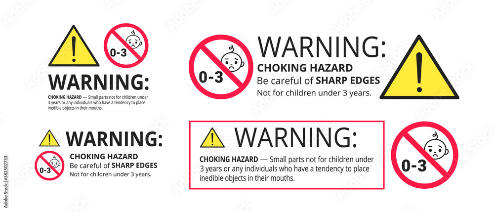 Fototapeta Choking hazard forbidden sign sticker not suitable for children under 3 years isolated on white background vector illustration set. Warning triangle, sharp edges and small parts danger.