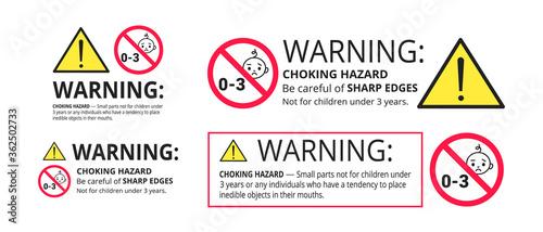 Choking hazard forbidden sign sticker not suitable for children under 3 years isolated on white background vector illustration set Poster Mural XXL