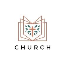 Church Book Cross Leaf Logo Vector Icon Illustration