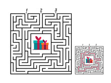 Square Maze Labyrinth Game For Kids. Labyrinth Logic Conundrum. Three Entrance And One Right Way To Go. Vector Flat Illustration Isolated On White Background.