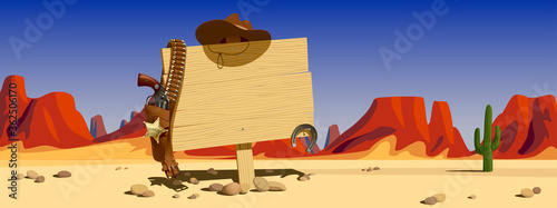 Fotografie, Obraz Wood signboard with cowboy hat and colt against the backdrop of the sunlit desert and mountains of the Wild West of the USA