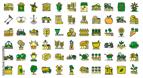 Fototapeta Farmer icons set. Outline set of farmer vector icons thin line color flat on white obraz