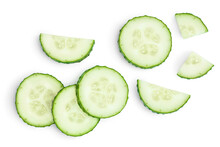 Sliced Cucumber Isolated On White Background With Clipping Path And Full Depth Of Field, Top View. Flat Lay