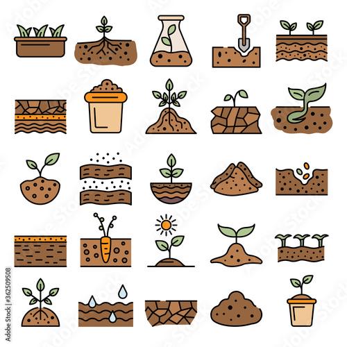 Soil ground icons set Fototapeta