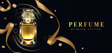 Perfume Bottle With Gold Ribbo...