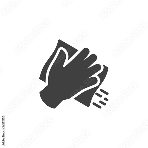 Fototapeta Hand with cleaning napkin vector icon. filled flat sign for mobile concept and web design. Surface wiping, disinfection glyph icon. Symbol, logo illustration. Vector graphics obraz
