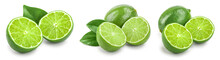 Lime With Half And Leaf Isolat...