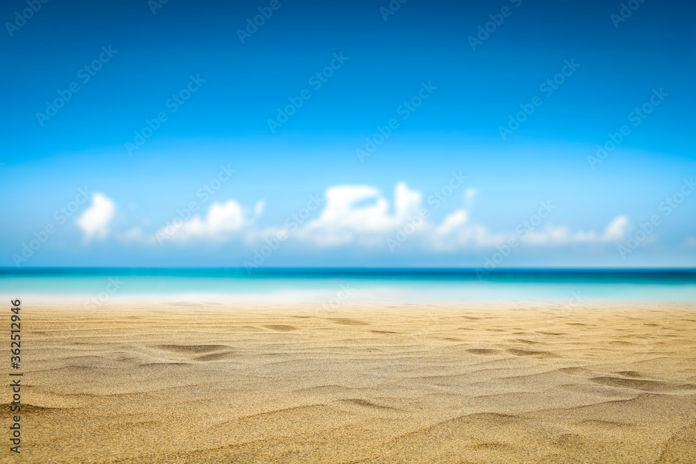 Fototapeta Summer photo of beach and sunny sky . Free space for your decoration