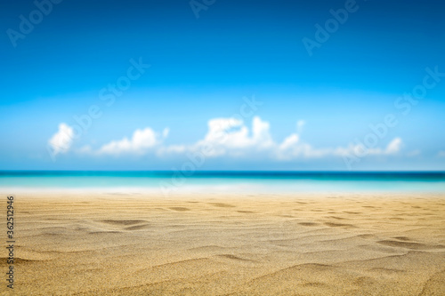 Summer photo of beach and sunny sky . Free space for your decoration