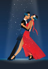 Elegant Couple Dancing Tango. ...
