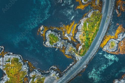 Fototapeta Atlantic road and ocean in Norway aerial view travel beautiful destinations top down drone scenery from above obraz